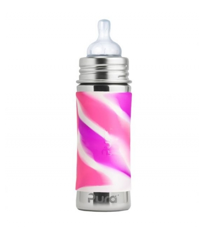 Pura® dojčenská TERMO fľaša 260ml ružovo-biela