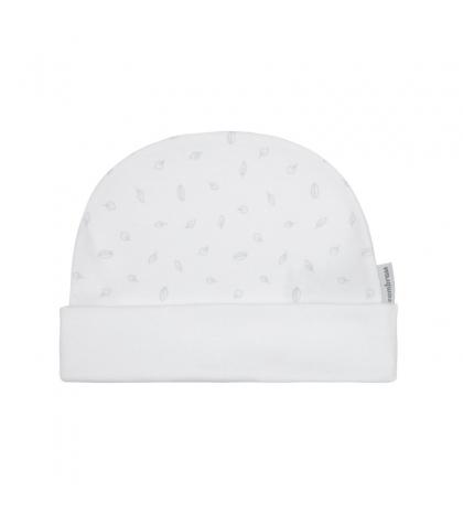Kojenecká čiapočka veľkosť 52 biela ,sivý list 409 Cambrass