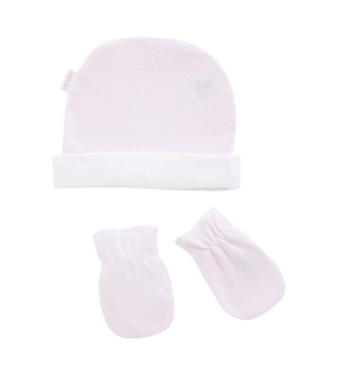 Set čiapočka a rukavičky LISO T.0 ružová CAMBRASS