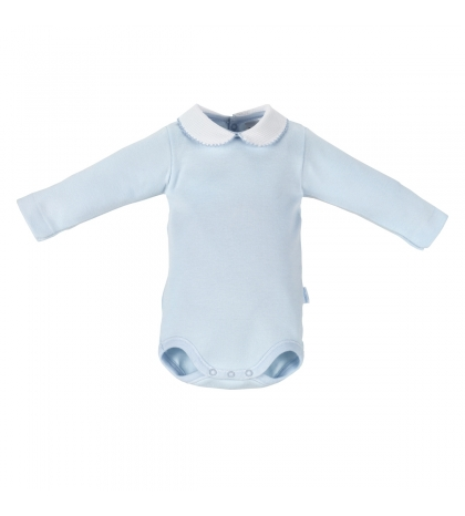 CAMBRASS Detské body v 68 s limčekom dlhý rukáv modré