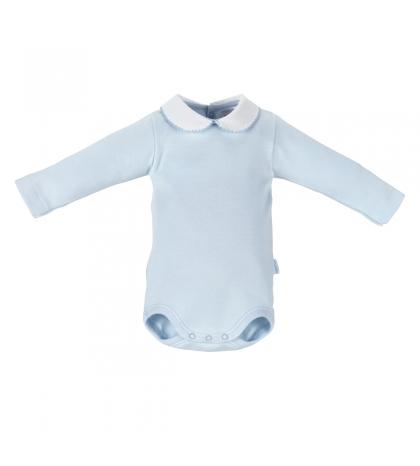 CAMBRASS Detské body v 74 s limčekom dlhý rukáv modré