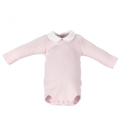 CAMBRASS Detské body v 68 s limčekom dlhý rukáv ružové