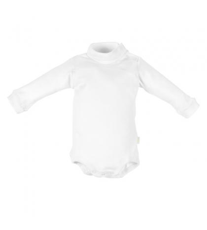 CAMBRASS Detské body v 62 s rolákom dlhý rukáv bele