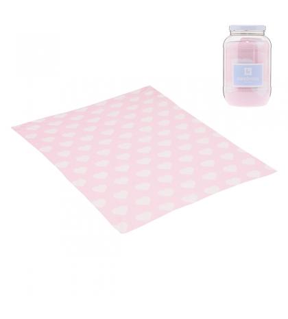 CAMBRASS Bavlnená detská deka 80 x 100 cm LOVE ružová
