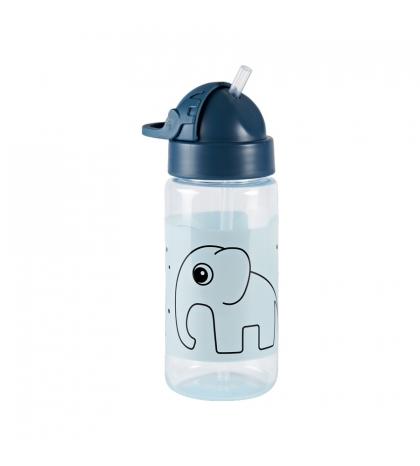 Done by Deer fľaška so slamkou 350 ml Elphee modrá