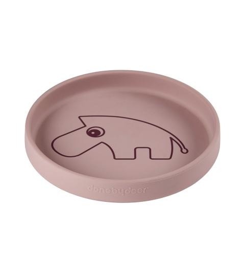 Done by Deer silikónový tanier guľatý Zebee ružový