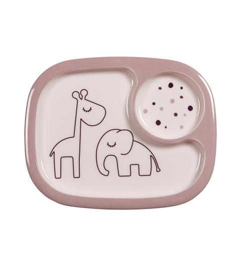 Done by Deer delený tanier yummi mini dreamy dots ružový