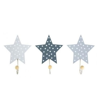 Jabadabado Dekoratívne háčiky hviezda sivá