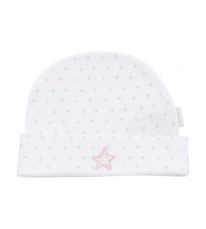 Kojenecká čiapočka veľkosť 56 biela,ružová hviezda 356 Cambrass