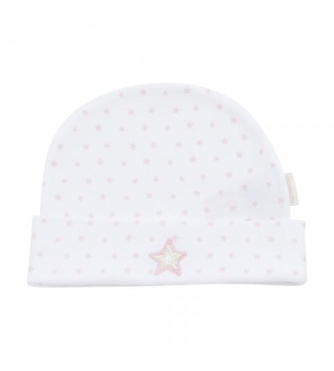 Kojenecká čiapočka veľkosť 62 biela,ružová hviezda 356 Cambrass
