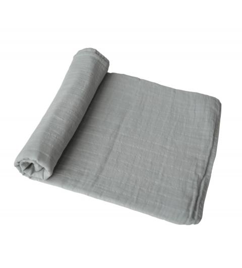 Mushie mušelínová zavinovačka z organickej bavlny belgian grey