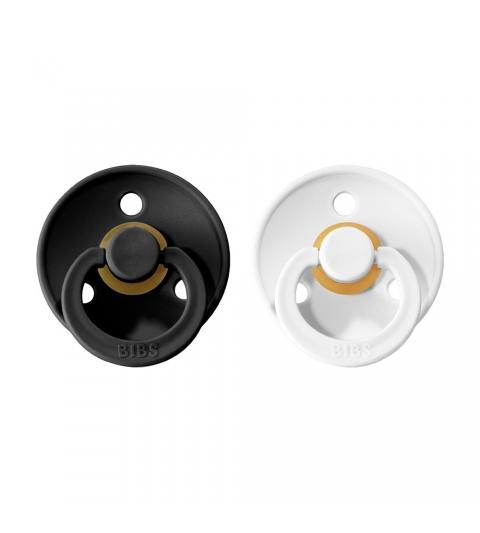 BIBS Colour veľkosť 1 cumlíky z prírodného kaučuku 2ks –black white