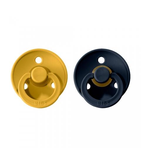 BIBS Colour veľkosť 1 cumlíky z prírodného kaučuku 2ks – mustard dark denim