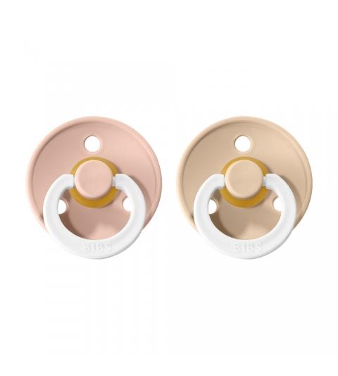 BIBS Colour veľkosť 1 cumlíky z prírodného kaučuku 2ks – blush nočný vanilla nočný