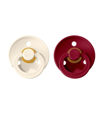 BIBS Colour veľkosť 2 cumlíky z prírodného kaučuku 2ks – ivory ruby