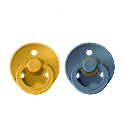 BIBS Colour veľkosť 3 cumlíky z prírodného kaučuku 2ks – mustard petrol