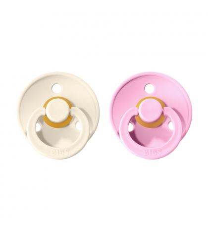 BIBS Colour veľkosť 3 cumlíky z prírodného kaučuku 2ks – ivory baby pink