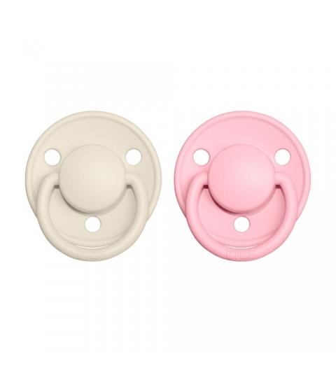 BIBS De Lux veľkosť 1 cumlíky z prírodného kaučuku 2ks-ivory baby pink