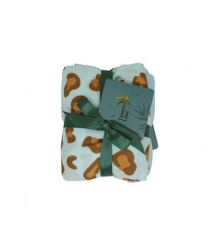 Tommy Lise Bavlnená mušelínová plienka 2 ks Blue leopard set