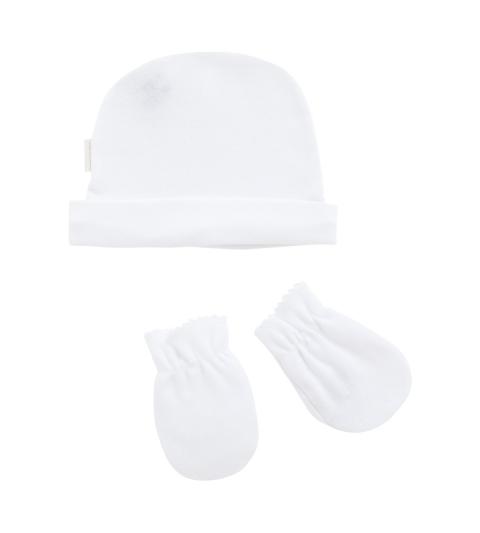 Kojenecká čiapočka a rukavičky biely set Cambrass