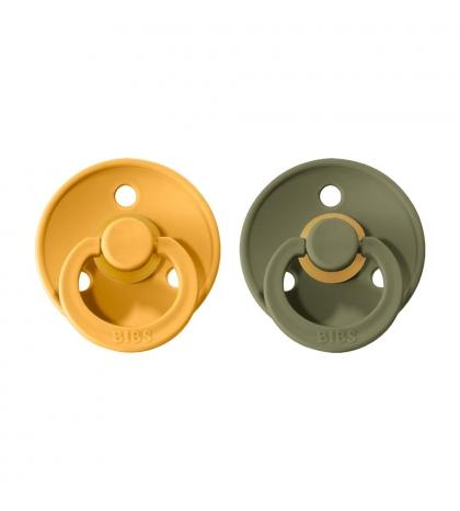 BIBS Colour veľkosť 1 cumlíky 2ks – honey-bee-olive