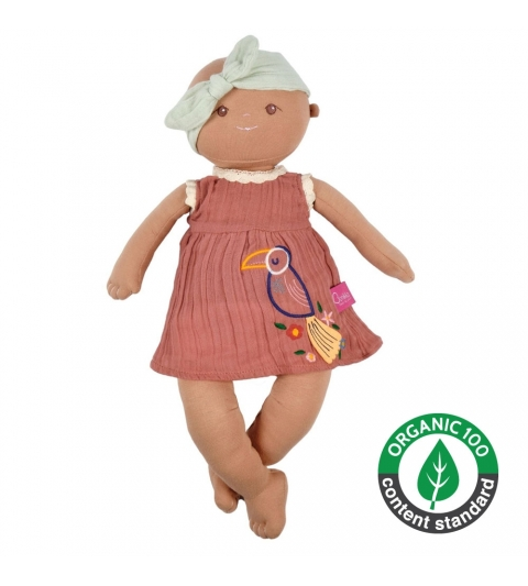 Bonikka Organic látková bábika Aria tehlové šaty