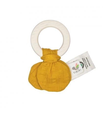 Tikiri Safari – hryzátko z prírodnej gumy a bio bavlny mustard