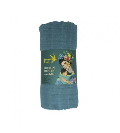 Tommy Lise Bavlnená mušelínová plienka Foggy Blue