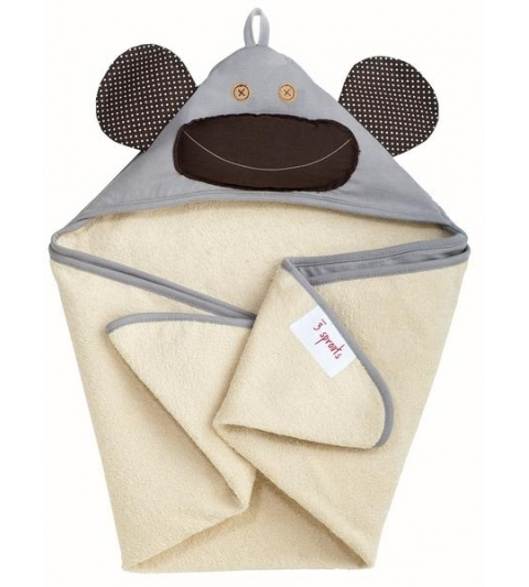 3 Sprouts Hooded Towel - Osuška s kapucňou  opica