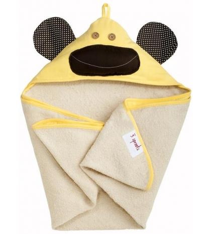 3 Sprouts Hooded Towel - Osuška s kapucňou  žltá opica
