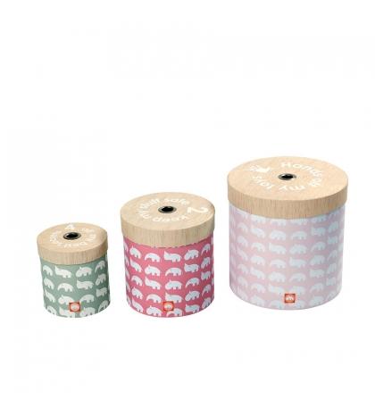set 3 ks okrúhlych boxov - ružová