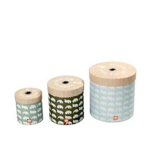 set 3 ks okrúhlych boxov - modré