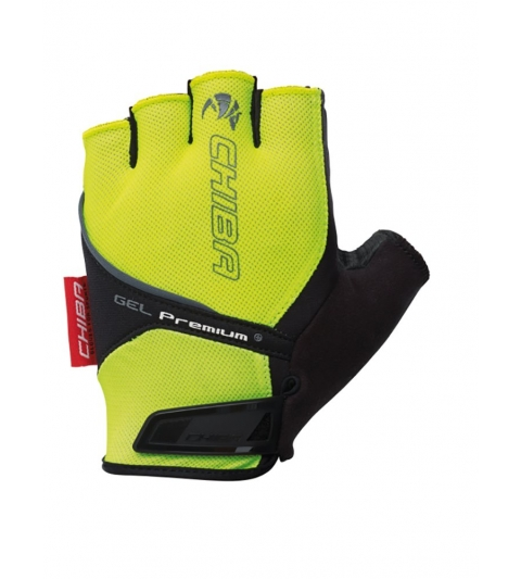 Chiba Cyklistické rukavice pre dospelých Gel Premium neónové žlté