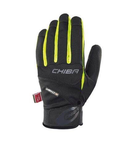 Chiba Zimné cyklistické rukavice pre dospelých Tour Plus Čierne/neónové žlté