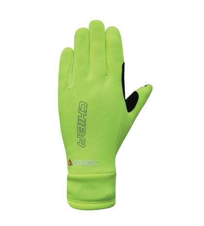 Chiba Zimné cyklistické rukavice pre deti Kids Polartec Reflex Neónové žlté