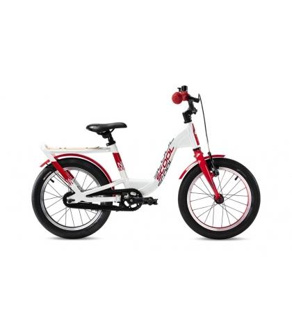 S'COOL S'COOL Detský bicykel niXe EVO 16 bielo/červený (od 111 cm)