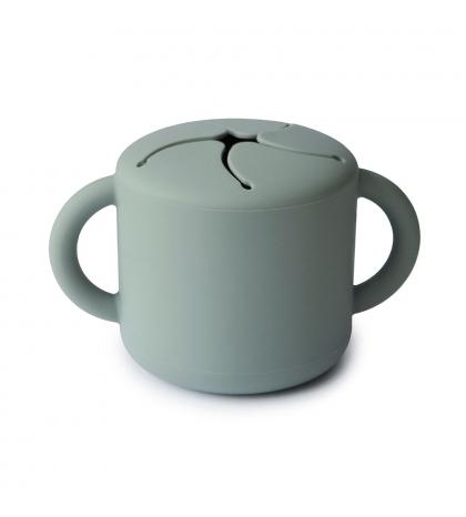 Mushie silikónový pohárik na snack cambridge-blue