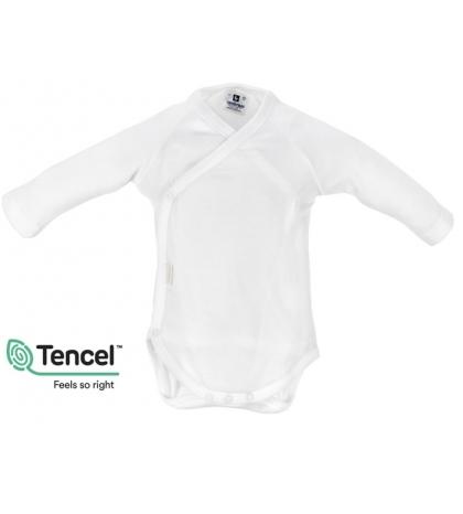 Detské body s Tencel veľkosť 86 dlhý rukáv biele Cambrass