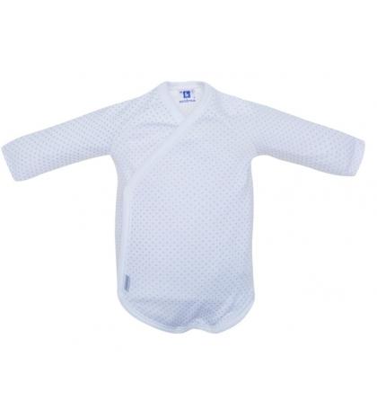 Detské body v 56 dlhý rukáv biele modrá bodka 701 Cambrass