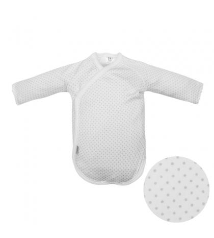 Detské body v 62 dlhý rukáv biele sivá bodka 701 Cambrass