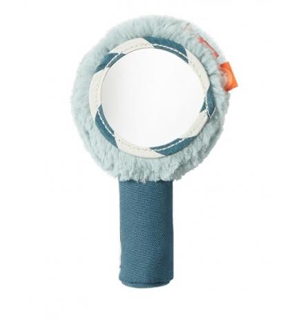 Mäkká hrkalka so zrkadielkom Done by Deer modré