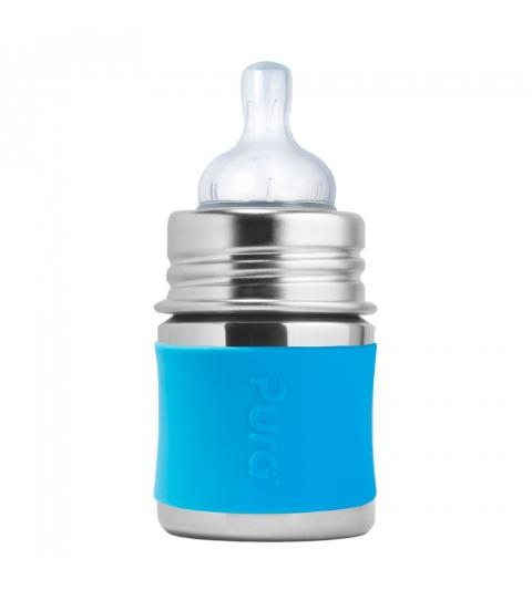 Pura® nerezová dojčenská fľaša 150ml- modrá