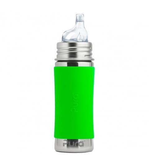 Pura® nerezová fľaša s náustkom 325ml-zelená