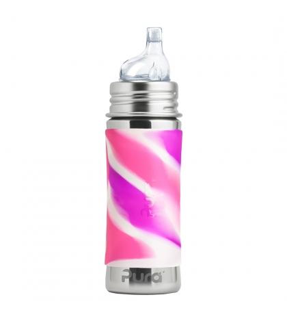 Pura® nerezová fľaša s náustkom 325ml-ružovo biela