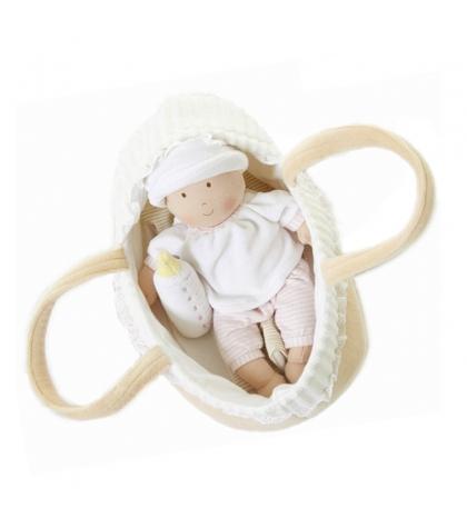 Látková bábika v košíku 25 cm