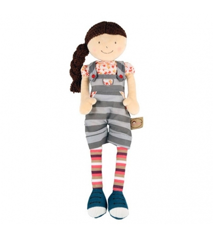Bonikka látková bábika 46 cm - Julia – pásikavé nohavice na traky