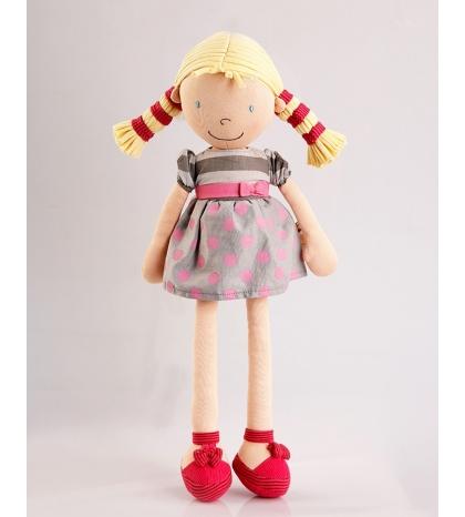 Bonikka látková bábika 46 cm - Ann – bodkované šaty a blond vrkoče