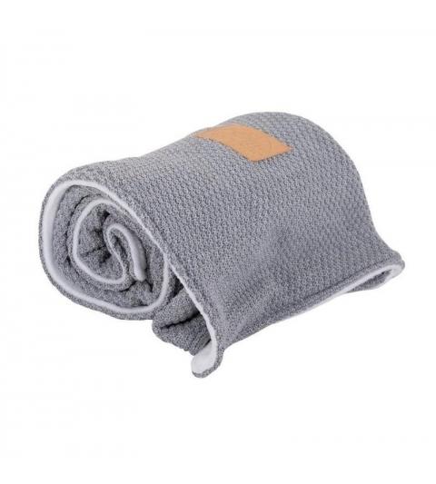 Vlnená & flísová dvojitá deka Gray & White