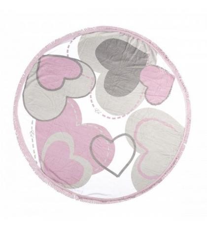 Geometrická deka 150 cm - Ružové srdcia