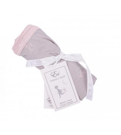 Obojstranná deka ružové zajačiky so šedými bodkami